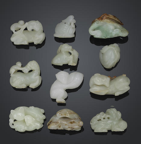 A group of ten small jade carvings