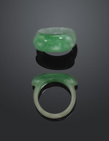 Two jadeite saddle rings