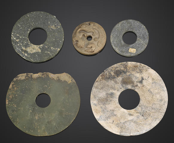 A group of five archaic and archaic style jade bi discs