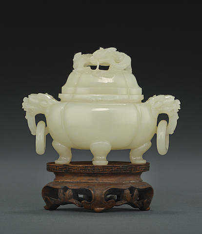 A small white jade censer and cover