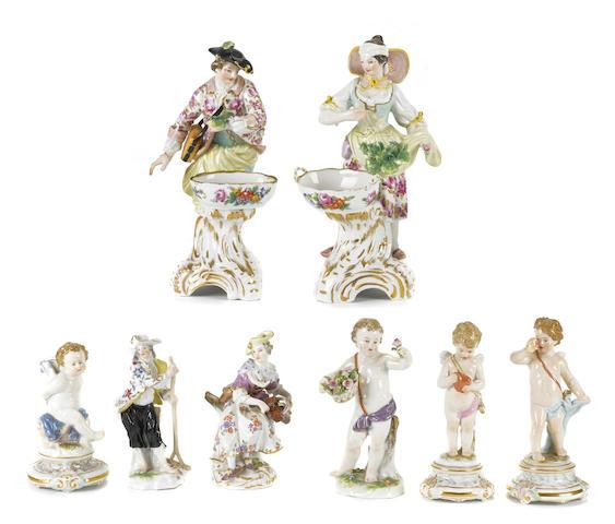 Eight German porcelain figures