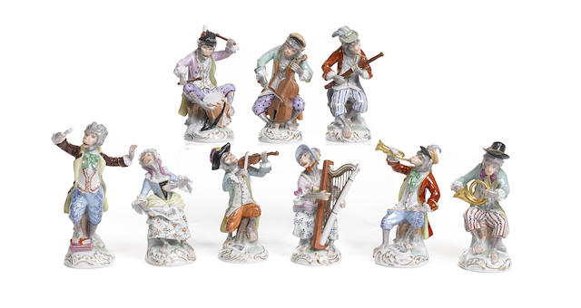 A set of nine Dresden porcelain monkey musicians