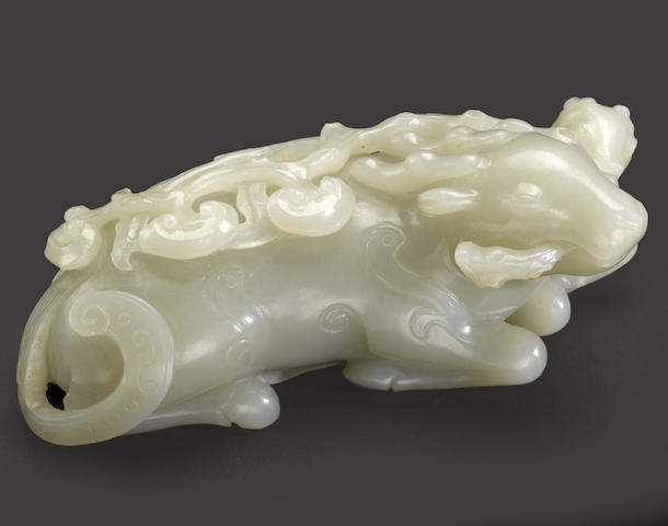 A nephrite archaistic mythical beast and lingzhi group