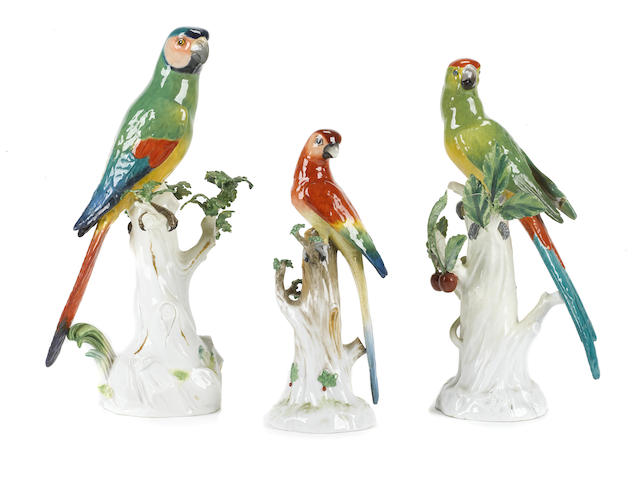 Three German porcelain models of birds