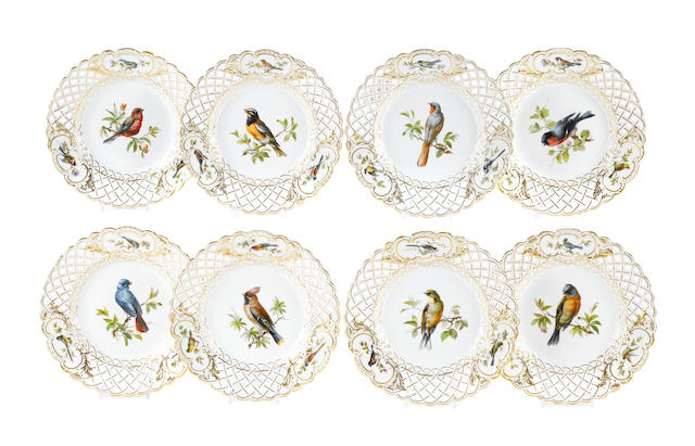 A set of eight Meissen porcelain plates decorated with birds