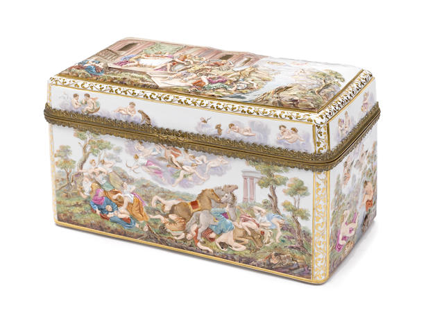 A Meissen porcelain table casket in the Capodimonte style