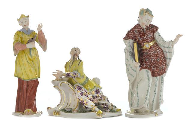 Three Nymphenburg porcelain orientalist figures