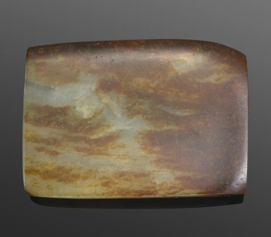A jade rectangular sectioned belt buckle