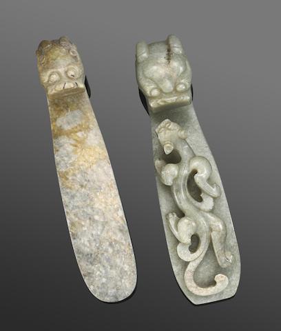 Two gray jade belt hooks