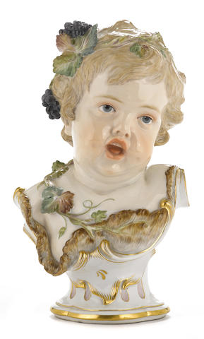 A Meissen porcelain bust of a child allegorical of Autumn