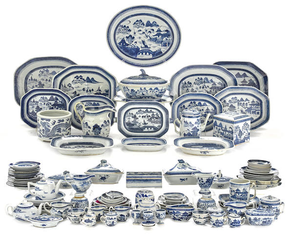 A collection of Chinese Blue Canton porcelain
