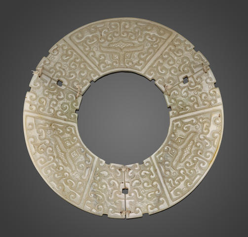 An archaistic jade segmented bi disc