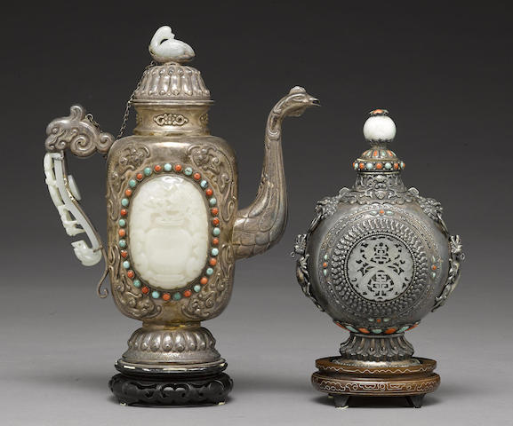 Two silver vessels with jade and colored stone insets