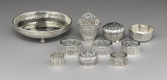 A group of eight Chinese and two Burmese silver containers