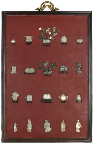 A jade overlay lacquer and hardwood hanging panel