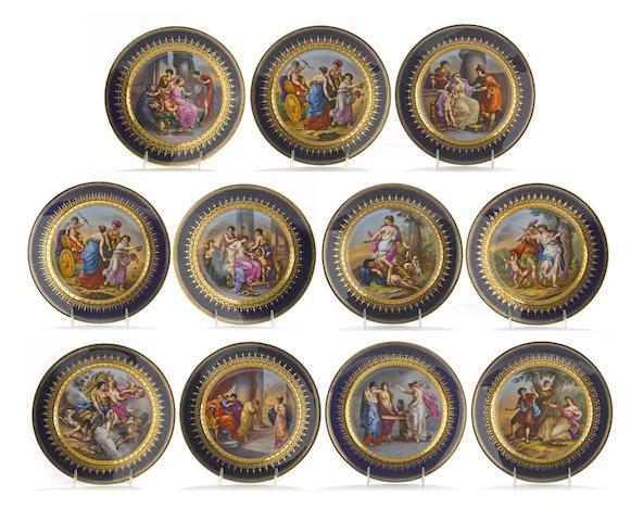 Eleven Vienna style porcelain mythological cabinet plates