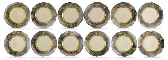 Twelve Dresden porcelain Wagnerian cabinet plates