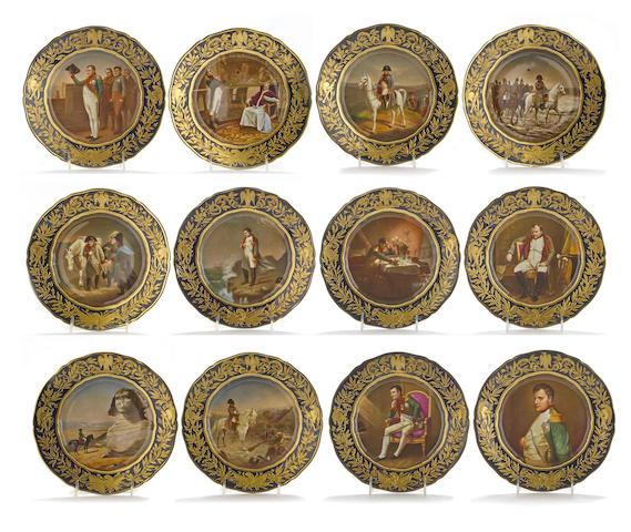 Twelve Dresden porcelain Napoleonic cabinet plates