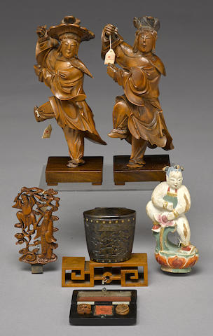 A group of boxwood carvings