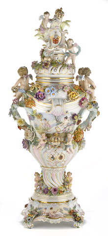 A Dresden porcelain covered urn on stand Carl Thieme, Potschappel