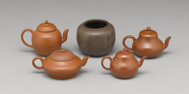 An assembled group of Yixing pottery vessels
