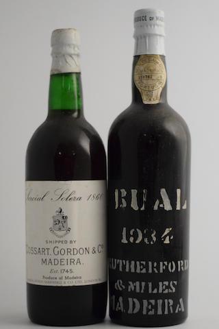 Cossart Gordon Sercial Solera 1860, UK (1); Rutherford & Miles Bual 1934, Island bottled (1)