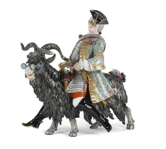 A Meissen porcelain figure of Count Bruhl's tailor riding a goat