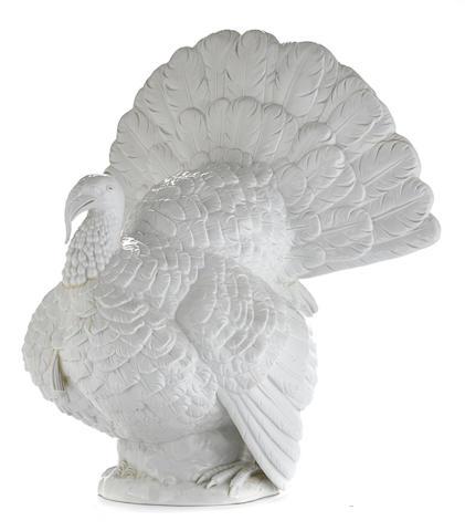 A Meissen blanc de chine porcelain model of a turkey-cock