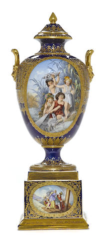 A Vienna style porcelain covered vase on stand