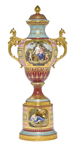 A Vienna style porcelain covered urn on stand