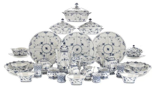 A Royal Copenhagen porcelain dinner service in the Blue Fluted Full