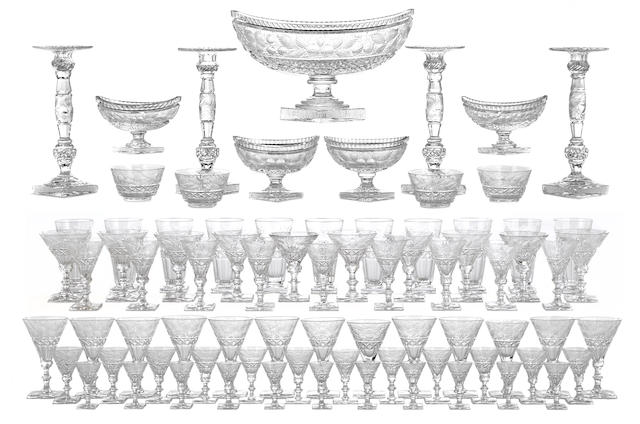 A suite of American gravic cut glass tableware