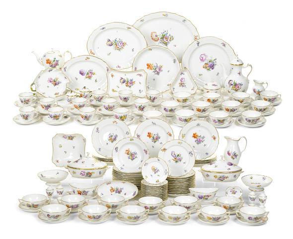 An extensive Royal Copenhagen porcelain dinner service in the Saxon Flower pattern