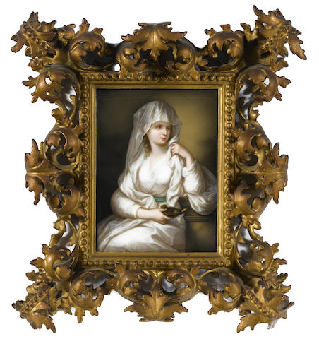 A German porcelain plaque: Vestal Virgin
