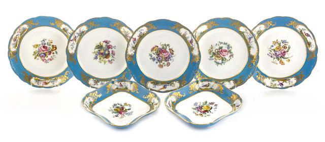 A Sèvres porcelain partial dessert service porcelain