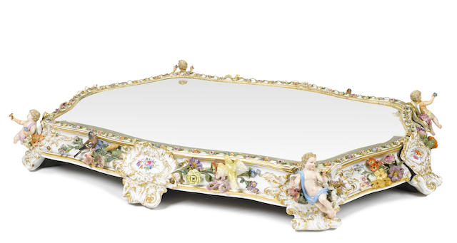 A German porcelain mirrored plateau