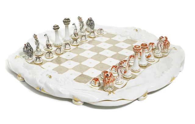 A Meissen porcelain 'Sea Life' chess set