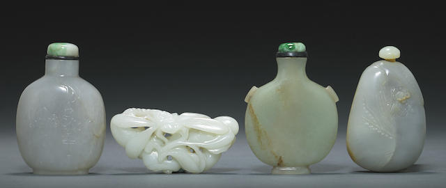 A group of three hardstone snuff bottles and a jade carving