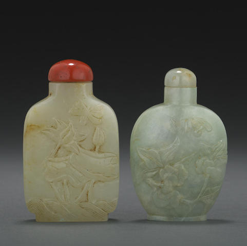 Two hardstone snuff bottles
