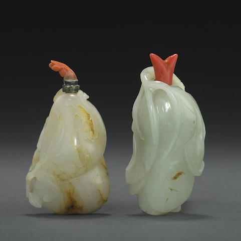 Two jade snuff bottles