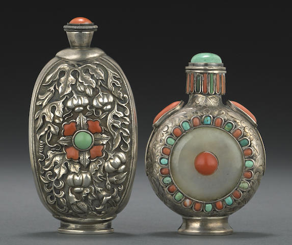 Two Mongolian silver snuff bottles mounted with jade