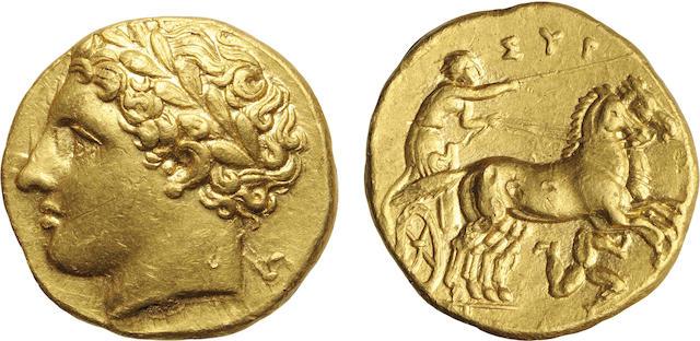 Syracuse, Sicily, Time of Agathocles, Gold AV Decadrachm, 317-310 B.C., Choice About Uncirculated NGC