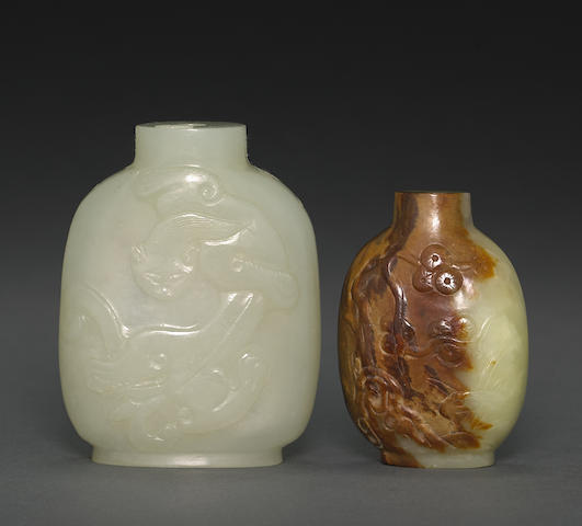 Two nephrite snuff bottles