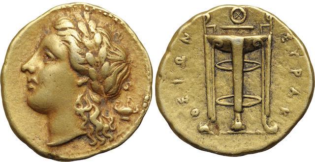 Sicily, Syracuse, Agathocles, Electrum 50 Litrae - Hemistater, 317-289 B.C.