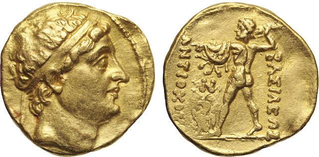 Bactrian Kingdom, Diodotos I /Antiochos II Nikator, Gold AV Stater, ca. 250-230 B.C.