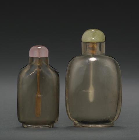 Two smoky quartz snuff bottles