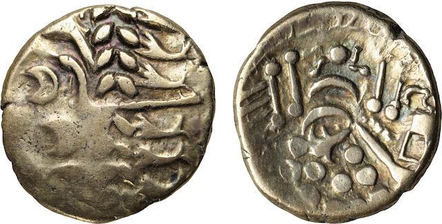 Britain, 'The Belgae', Electrum Stater, Ca. 80-50 B.C., Choice VF NGC