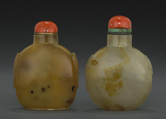 Two large agate snuff bottles