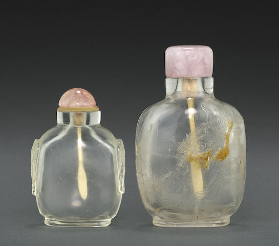 Two clear snuff bottles
