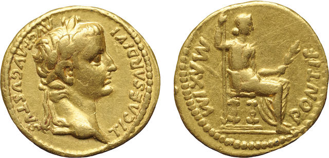 Roman Empire, Tiberius, AV Aureus, 14-37 A.D., Very Fine NGC